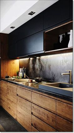35 Small Kitchen Designs for Kitchen Remodel Modern kitchen decor with black woo. 35 Small Kitchen Designs for Kitchen Remodel Modern kitchen decor with black wooden cabinets Small 35 Small Kitchen Black Kitchen Cabinets, Wooden Cabinets, Black Kitchens, Cool Kitchens, Kitchen Black, Small Kitchens, Luxury Kitchens, Concept Kitchens, Maple Cabinets