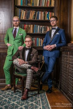 Models in colourful suits with matching hankerchief and eyeglasses. Scarzza presents our Monkstraps, Boots, and Oxfords