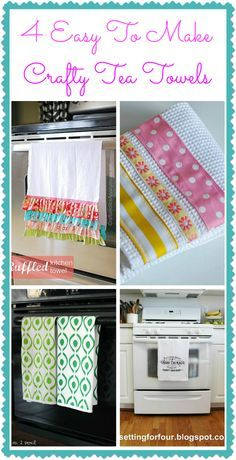 Tea towels are an easy way to pretty up a kitchen! Here's a collection of pretty tea towels that you can easily make