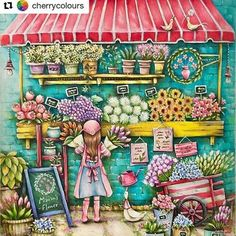 OMG!  #Repost @cherrycolours with @repostapp  A quick one for spring. #romanticcountry #romanticcountrycoloringbook #eriy #prismacolor #sakurakoibrushpen #coloringbook #jardimsecreto