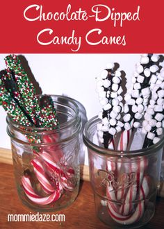 These chocolate-dipped candy cane stirrers make easy, inexpensive, homemade Christmas gifts!  #Christmas #Homemade Gifts
