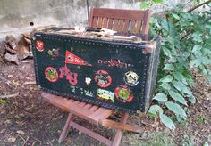Vintage Black Suitcase Trunk with Travel Decals by GladStoneatHome on Etsy