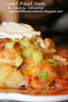 Loaded Baked Potato & Chicken Casserole: Tried this tonight but made a single serving using white potatoes.  Served with sour cream as I didn't have any ranch.  I may have over-cooked it a tiny bit as I thought it was a little dry...