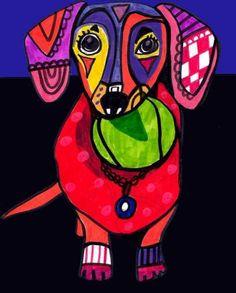 Free Shipping  Dachshund art Art Print Poster by HeatherGallerArt