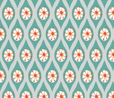 turquoise and orange fabric | Modern Turquoise and Orange on Grey fabric by emilyannstudio for sale ...