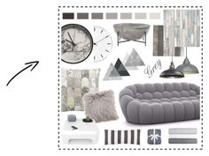 """""""In the grey"""" by beanpod ❤ liked on Polyvore featuring interior, interiors, interior design, home, home decor, interior decorating, Kathy Ireland, Rosendahl, Crystal Art and Pine Cone Hill"""