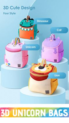 The 3D unicorn backpack bag is a well designed, durable, high-quality pink backpack designed for girls, toddlers and boys who are embracing the on-trend unicorn theme Unicorn Kids, Unicorn Cat, Tao, School Bags For Kids, Cute Backpacks, 3d Cartoon, Designer Backpacks, Cute Designs, Craft