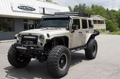 We just finished this 2015 Custom build with a 7.3L Hemi Stroker Motor. See more at RubiTrux.com Jeep Truck, Truck Camper, Jeep Cj7, Jeep Wranglers, Customised Trucks, Jeep Camping, Expedition Truck, Cargo Trailers, Jeep Accessories