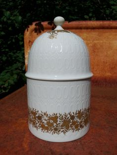 Mid Century lidded jar gold decoration from by fcollectables, €20.00
