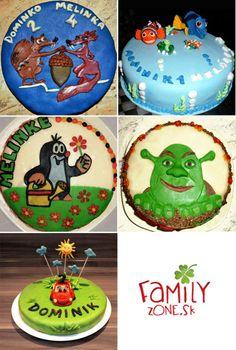 Inšpirácia na domácu detskú narodeninovú tortu poťahovanú marcipánom (viac sa zobrazí po kliknutí na obrázok)