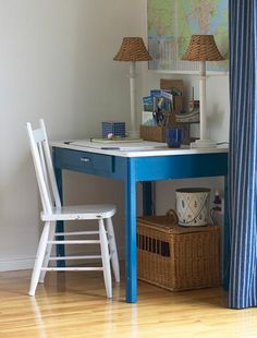 House and Home Painted Kids' Desk: Marine blue painted, seaside-inspired
