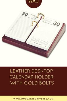 Crafted with a top-grain leather, this unit includes gold bolds to secure the calendar refill to the base. Gifts For Boys, Gifts For Him, Gifts For Women, Diy Gifts, Best Gifts, Homemade Gifts, Office Supply Organization, Organization Ideas, Desktop Calendar