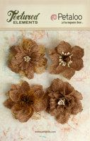 1200-000 - Burlap Blossoms x 4 - Natural