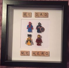 My dad my hero lego frame Lego Frame, My Dad My Hero, Art Pieces, Dads, Gifts, Decor, Presents, Decoration, Artworks