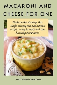This homemade macaroni and cheese is so creamy and extra cheesy. Made on the stovetop, this single serving mac and cheese recipe is easy to make and can be ready in minutes. It's the perfect size for one person!