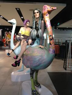 unique mannequin dressing and styling, reminds the customer about the quirkiness of the clothes