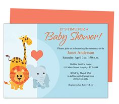 Animals Cute Printable DIY Baby Shower Invite Templates edits with Word, OpenOffice, Publisher, Apple iWork Pages. Easy to customize and print yourself.