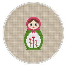 Russian Doll cross stitch pattern, Instant Download, Free shipping, Cross-Stitch PDF, Matryoshka, Nesting Doll, Valentine's Day