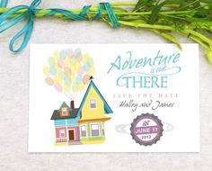 """Disney UP Wedding Save the Date Design, Greatest Adventure is Out There, Paradise Falls, Carl and Ellie, """"The Ellie Badge"""" Grape Soda Cap"""