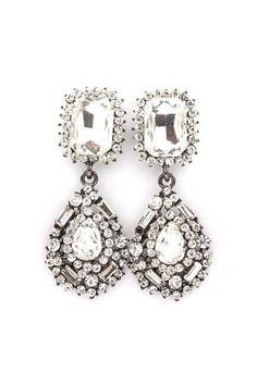 Delphine Crystal Earrings in Crystal