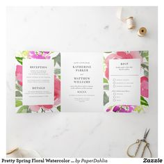 Shop Pretty Spring Floral Watercolor All-In-One Wedding Tri-Fold Invitation created by PaperDahlia. Rustic Invitations, Modern Wedding Invitations, Wedding Invitation Design, Watercolor Illustration, Floral Watercolor, Boho Wedding, Elegant Wedding, Letter Folding, Paper Dahlia
