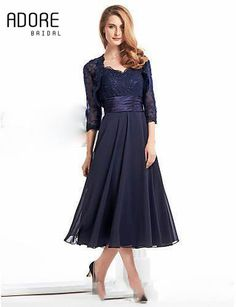 Custom tea length elegant navy blue mother of the bride dress with jacket new modest illusion 3/4 sleeves lace appliques gowns(China (Mainland))