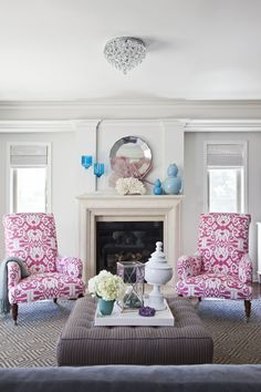 Design: Emily Ruddo Photographer: Meghan Bob living room, Quadrille Island Ikat fabric