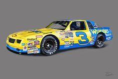 Nascar Digital Art - Earnhardt 86 by Charley Pallos Nascar Heat, Nascar Crash, Nascar Race Cars, Nascar Sprint Cup, Nascar Room, The Intimidator, Dallas Cowboys Logo, Amc Javelin, Vintage Race Car