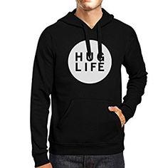 365 Printing Hug Life Unisex Black Hoodie Simple Design Life Quote Gift Ideas