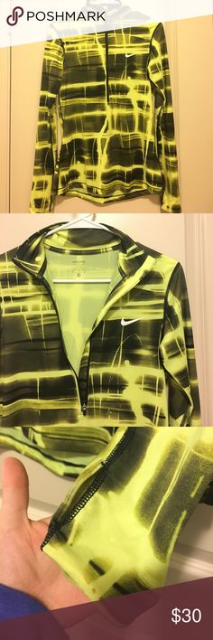 NIKE PRO Neon Yellow Half Zip Neon Yellow Nike Pro Half Zip Jacket. Size Medium. In GREAT condition! Have any questions? Ask away! Ships same day and next day! BUNDLE 2 items and save 25% off! No Trades Nike Tops Sweatshirts & Hoodies