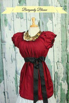 Size MEDIUM Burgundy Peasant Blouse | damselinthisdress - Clothing on ArtFire