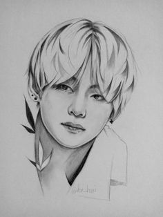 Kim Taehyung also known as V who is working as a secret agent in Korea. There is no love no feelings in his life until he meets the certain bunny boy during. Kpop Drawings, Pencil Art Drawings, Art Drawings Sketches, Drawing Art, Bts Chibi, Kpop Fanart, Taehyung Fanart, Fan Art, Art Inspo