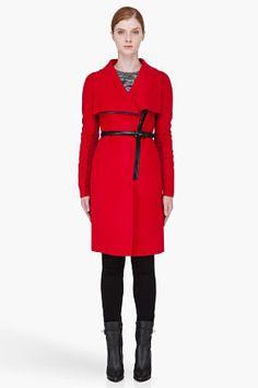 Mackage Dark Red Sophie Overcoat for Women | SSENSE