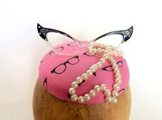 Glasses And Pearls Pink Button Cocktail Fascinator by ChefBizzaro, $80.00
