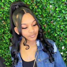 Hair Ponytail Styles, Weave Ponytail Hairstyles, Black Girl Braided Hairstyles, Slick Hairstyles, Black Girl Braids, Baddie Hairstyles, Braids For Black Hair, Black Women Hairstyles, Straight Hairstyles