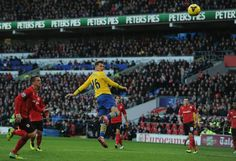 Cardiff City 0 Arsenal 3 - Ramsey scores our first with a brilliant header.