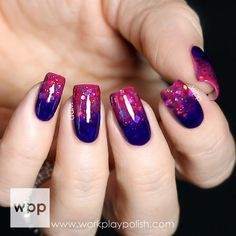 jelly glitter gradient - nail art - nails - manicure