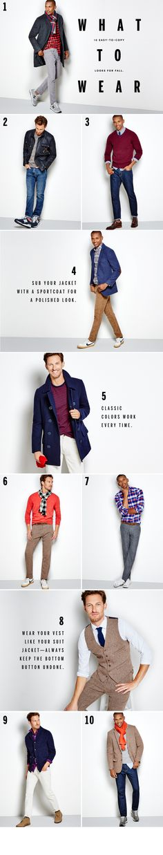 Find everyday deals on men's suiting, denim, sportcoats & blazers - J.Crew Factory  love: 2 (sporty: leather and sneakers) 4 (polished casual: sportcoat, courds, plaid) 6 (woven texture, tan, crimson, black/white checker) 7 (bright plaid with smoky blue) 8 (tan vest and pant set with navy blue)