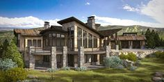 An exterior perspective of a single family residence shows the angled roofline, stone columns and deck.