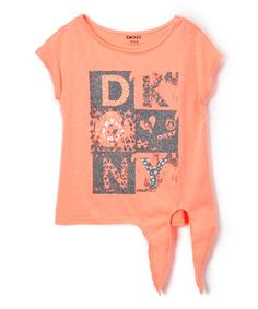 Pop Coral Big Bouquet Side-Tie Tee - Girls #zulily #zulilyfinds