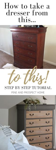 Dresser makeover using gray paint with raw wood drawer fronts makeover diy dresser Painted Dresser with Raw Wood Drawers - Pine and Prospect Home Dresser Furniture, Wood Dresser, Wood Drawers, Refurbished Furniture, Repurposed Furniture, Furniture Projects, Furniture Stores, Raw Wood Furniture, Gray Dresser