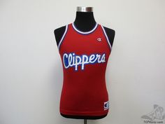 Vtg 90s Champion Los Angeles Clippers BLANK Basketball Jersey sz 36 NBA Red Blue #Champion #LosAngelesClippers #tcpkickz