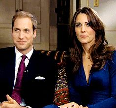 Prince William and Kate Middleton after finishing their engagement interview