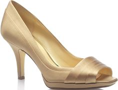 Champagne Shoes - lower heel = doesn't hurts as much. lol
