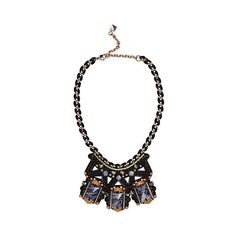 Nocturne Azera Necklace (305 CAD) ❤ liked on Polyvore featuring jewelry, necklaces, blue, beaded collar necklace, chain link necklace, bead necklace, blue statement necklace and square pendant