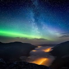 On instagram by arcticlightphoto #astrophotography #contratahotel (o) http://ift.tt/1nZRjpF Below - Lights from different sources both above me and below me. Shot in Tromsø Norway. Repost with proper credit. Ole