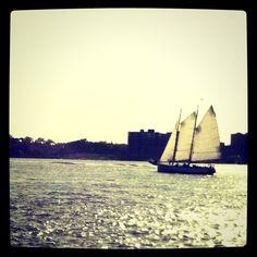 Sail boat. Hudson River. Summer. NYC
