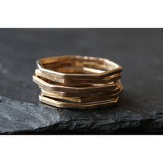 Hex Ring (£46) ❤ liked on Polyvore featuring jewelry, rings, geometric rings, stacking rings jewelry, stackable rings, hexagon ring and stackable band rings