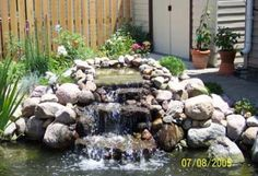 Small Waterfall Pond Landscaping For Backyard Decor Ideas 28 - DecOMG Garden Waterfall, Waterfall Fountain, Small Waterfall, Waterfall Project, Waterfall Design, Outdoor Ponds, Ponds Backyard, Backyard Waterfalls, Outdoor Spaces