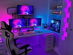 Laptop Gaming Setup, Gaming Room Setup, Pc Setup, Gamer Room, Pc Gamer, Gaming Desktops, Unicorn Room Decor, Gaming Station, Room Tour